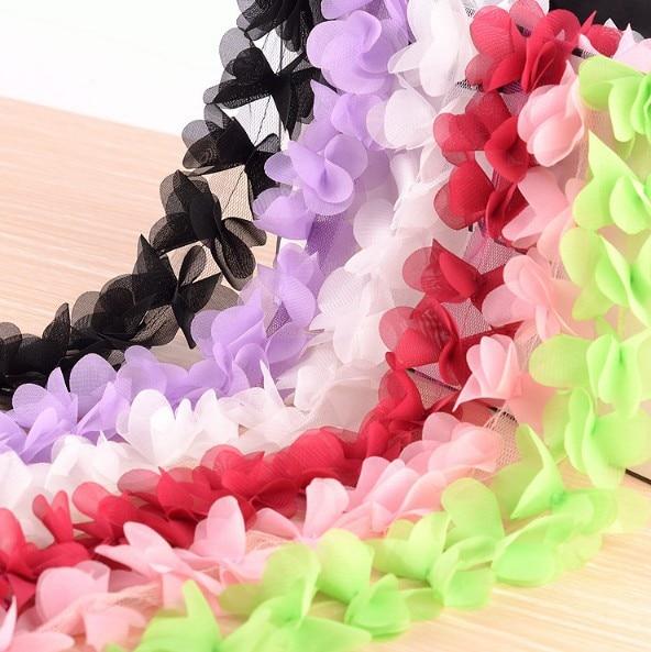 8 Colors Floral Chiffon Lace Trim Handicrafts 2 Three Dimensional