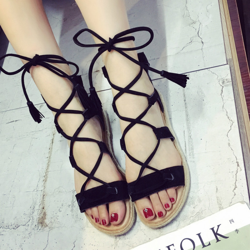 Women sandals 2017 new gladiator ankle high strap girls summer sandals shoes Rome style flat heel brown black sexy fashion 35-39 summer style children sandals girls princess flower shoes kids flat sandals tide sneakers