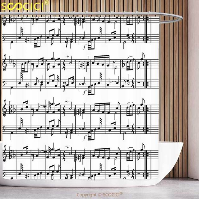 Polyester Shower Curtain Music Decor Musical Notes On The Clef Illustration Decorative Artistic Pattern Print Black And White