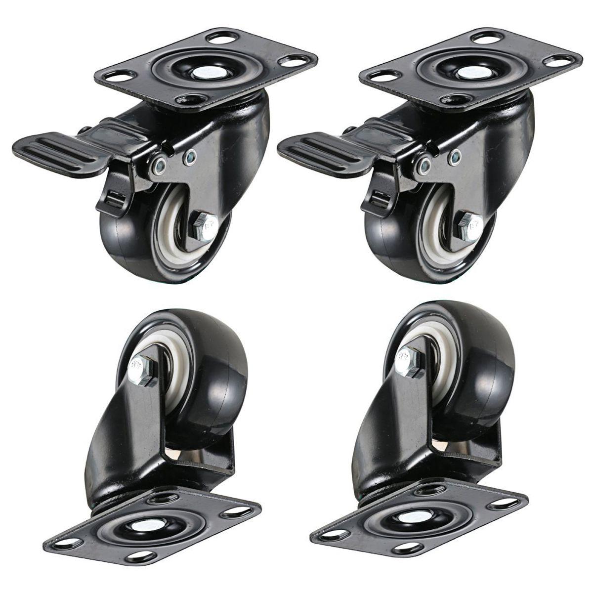 4 paket 2in Heavy Duty Caster Räder Polyurethan PU Swivel Rollen mit 360 Grad Top Platte 220lb Insgesamt Kapazität für möbel