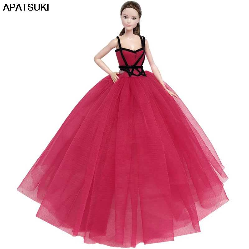 Red Black High Fashion Doll Clothes for Barbie Doll Dress Big Evening Dresses Party Gown Vestidoes Outfits 1/6 Doll Accessories