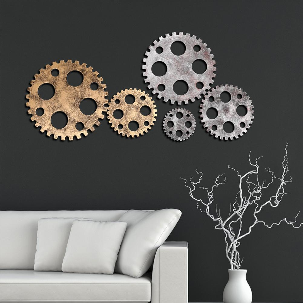 Fake Metal Wooden Gear Model Industrial Style Wall Ornament Bar Cafe Pub Decor Set