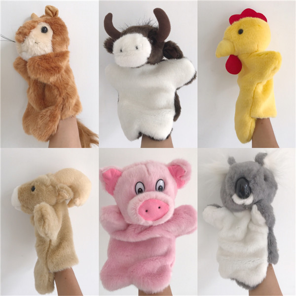 Cute Simulation Animal Koala Cow Rooster Pig Squirrel Hand Puppets Simulation Animal Plush Toy Children Birthday Christmas Gift