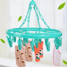 18Pcs Clothing Hanging Clips Plastic Multifunctional Round Spring Clothes Hanger Dryer Rack with Clip