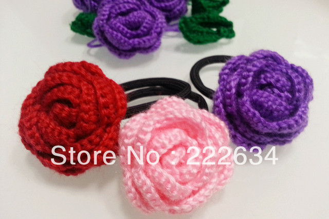 Crochet yarn dimensional rose flower hair accessories rubber band