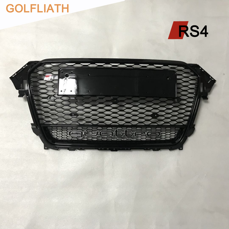 GOLFLIATH For A4 RS4 style Grill ABS Front Honey Mesh Grille front bumper grill quattro fit for Audi A4 S4 RS4 B8 2012-2015 туринг 1 10 rs4 sport 3 drift subaru brz