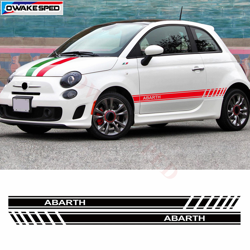 Car Styling Abarth Side Skirt Sticker Racing Sport Decals Stripe Wraps Body Stickers For FIAT 500 Auto Customized Decal