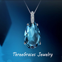 Romantic Women Ocean Blue 925 Sterling Silver Water Drop Necklaces Pendants With Clear Cubic Zirconia Stones
