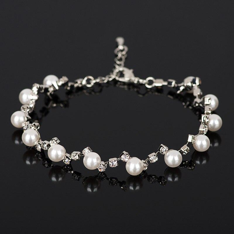 YFJEWE Fashion Stellux Rakouské křišťálové náramky Charm Crystal Cubic Zircon Simulated Pearl Náramek Dámské šperky B035