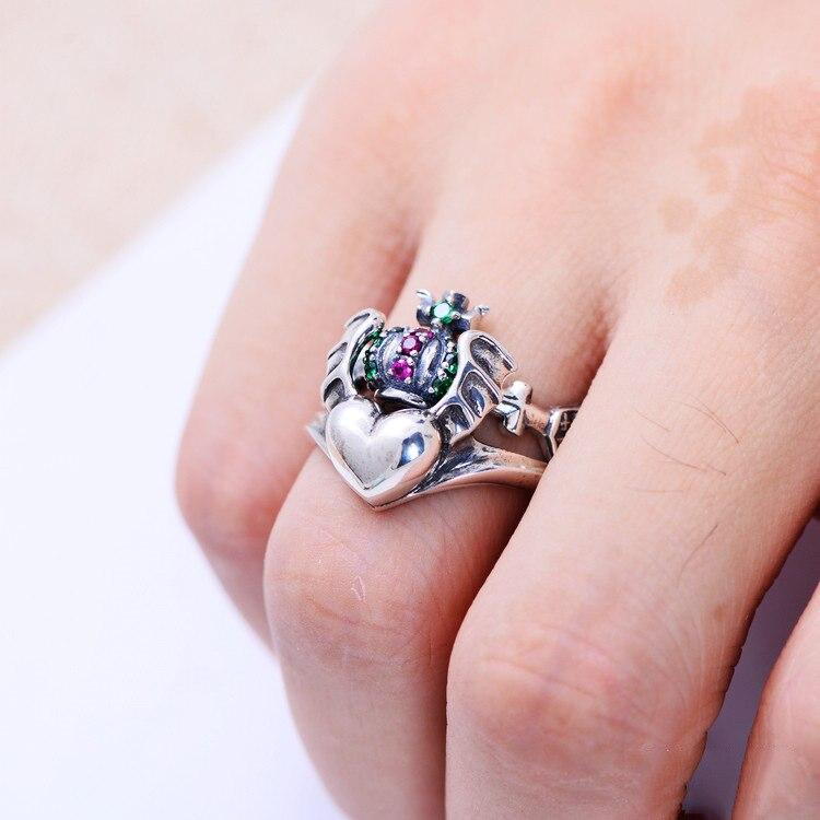 Noir Thai argent gros produit s925 pur argent ornements un double amour plume anneau pour les femmes
