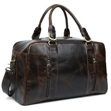 TIDING men travel bag vintage duffle bag thick leather weekend bag wild style 10243/10246