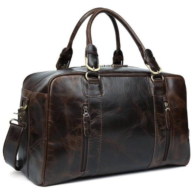d05585788e TIDING men travel bag vintage duffle bag thick leather weekend bag wild  style 10243/10246