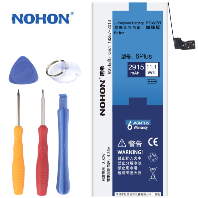 100% Original New NOHON Battery For Apple iPhone 6 Plus 6P Real Capacity 2915mAh With Retail Package Free Repair Machine Tools