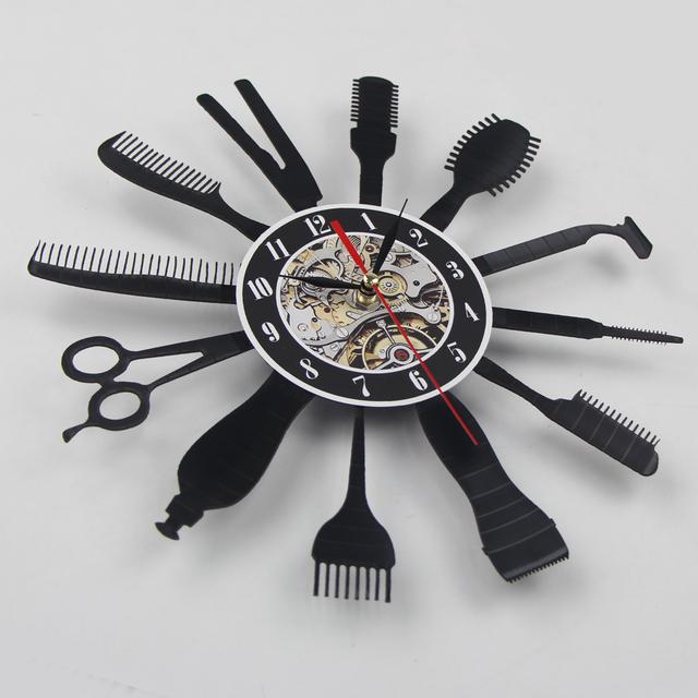 Creative Vinyl Wall Clock Gift Idea for Barber Hair Beauty Salo Hairdresser Barber Shop Art Decor Clock Cool Design