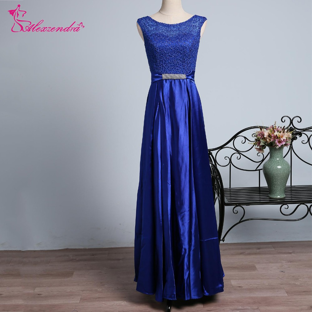 Alexzendra Blue A Line Scoop Neck Long   Prom     Dresses   2018 Simple Formal Evening   Dress   Party   Dresses