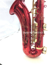BULUKEhigh quality Red tenor saxophone Gold keys sax music instrument Saxophone with good tone and intonation