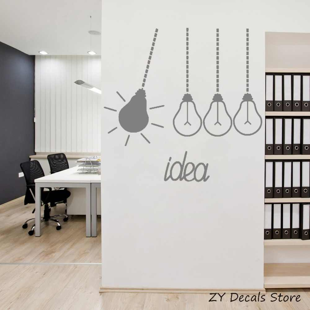 Light Bulbs Idea Funny Office Decor Stickers Removable Vinyl Wall Decal  Bedroom Creative Decoration Wall Mural Wallpaper S731
