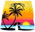 Мужские Летние Каникулы Случайные Короткие Брюки Пляж КОКО Дерево Закат Пейзаж 3D Шорты Мужской Хип-Хоп Уличная Шорты Борту