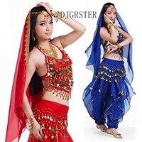 13 Colors Stage Performance Oriental Belly Dancing Clothes 5 Piece Suit Bra Pants Belt Scraf Hand