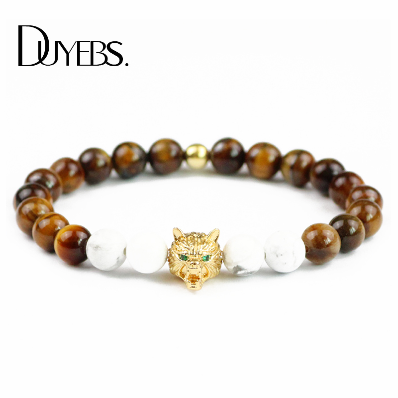 DUYEBS CZ Wolf head Charm Men Gold color Bracelets&Bangle 8mm Beads Natural Tiger's eye Stone male Trendy Jewelry Pulseras Gift