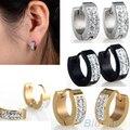 Unisex Punk Rhinestones Inlaid Titanium Steel Ear Studs Hoop Huggie Earrings 4PT5