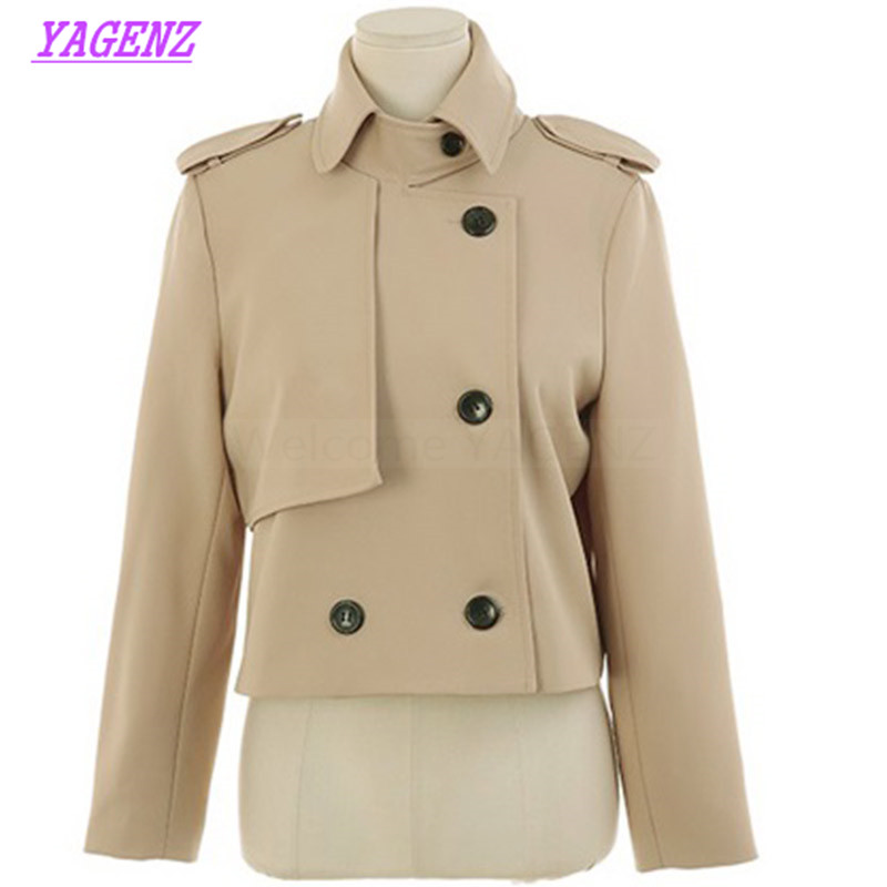 New Spring Autumn Small cloak Windbreaker Coat Women Fashion Loose Trench coat Young Women Double breasted Black Overcoat B309