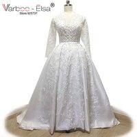 2017 Vestido De Novia A Line Wedding Dresses Sheer V Neck Beaded Appliques Open Back Vintage