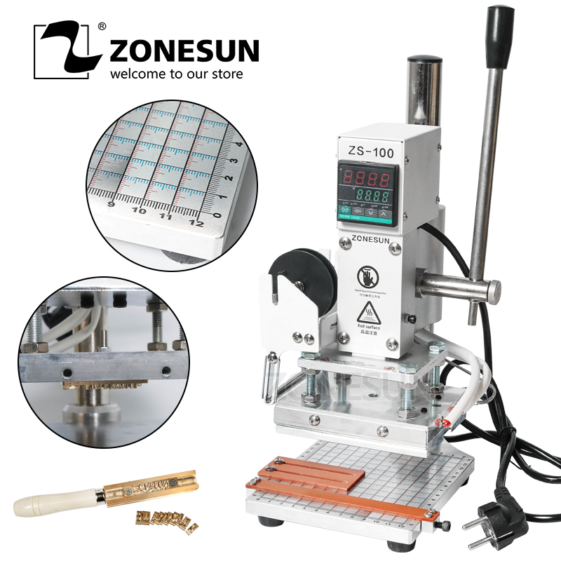 ZONESUN ZS-100 Manual Press Bronzing Machine For Pvc Wood Leather Bracelet Wallet Personality Initial Hot Foil Stamping MachineZONESUN ZS-100 Manual Press Bronzing Machine For Pvc Wood Leather Bracelet Wallet Personality Initial Hot Foil Stamping Machine
