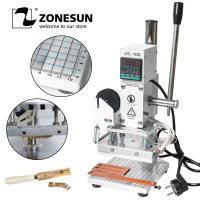 ZONESUN ZS 100 Manual Press Bronzing Machine For Pvc Wood Leather Bracelet Wallet Personality Initial Hot Foil Stamping Machine