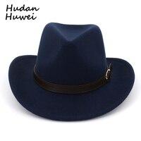 Chapeau en feutre de Cowboy à large bord européen américain Panama Trilby Jazz Fedora chapeaux avec boucle en cuir Chapeau en laine uni pour hommes femmes