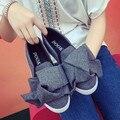 Nuevas Mujeres de La Moda Pisos Súper Bowtie Plataforma de la Mujer Zapatos Mocasines Slip On Zapatos Creepers Alpargatas de Lona Zapatos Mujer