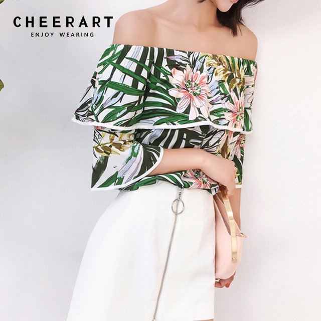 6259c3c08f9087 Cheerart Off Shoulder Top And Blouses Women Ruffle Printed Floral Blouse  Slash Neck Blouse Summer Clothes 2018