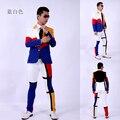 (Jaqueta + calça) terno masculino azul branco vermelho cor dancer cantor desempenho vestido show de boate roupa Ao Ar Livre Magro desgaste show