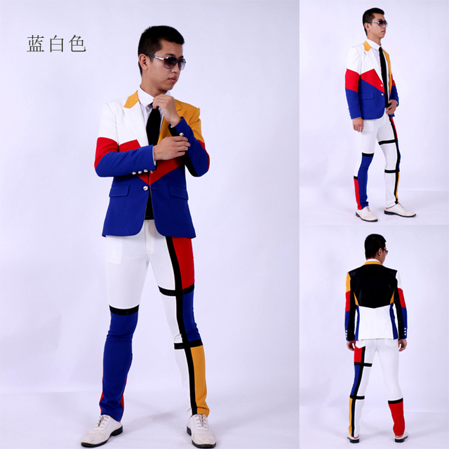 (jacket+pants)suit male blue white red color dancer singer dress performance show nightclub clothing  Outdoors Slim  wear show