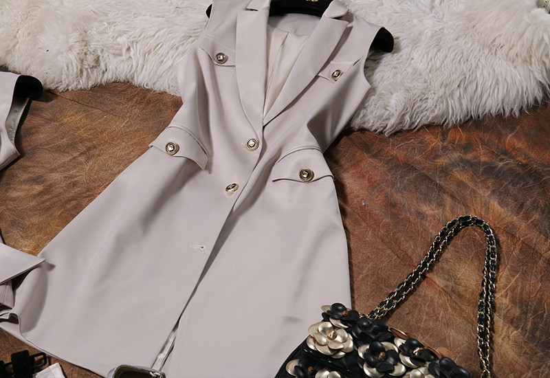 Runway Style 3 Piece Blazer Shorts Women Suits (7)
