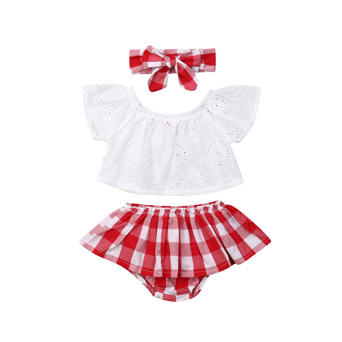 0-24M Infant Newborn Baby Girls Clothing Set White Off Shoulder T Shirts + Red Plaid Skirts + Headband Summer Baby Girl Costume