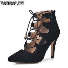 YOUGOLUNรองเท้าส้นสูง(9.5เซนติเมตร)ผู้หญิงที่สง่างามNubuckหนังแกะบางปั๊มแฟชั่นสุภาพสตรีลูกไม้ขึ้นรองเท้าผู้หญิงสีดำไวน์แดงรองเท้า
