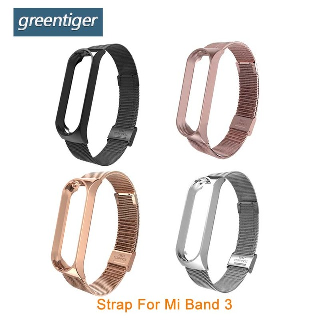 New Greentiger Steel Strap For Xiaomi Smart Bracelet stainless steel replacement Strap For Mi band 3  Xiaomi Smart Wristband