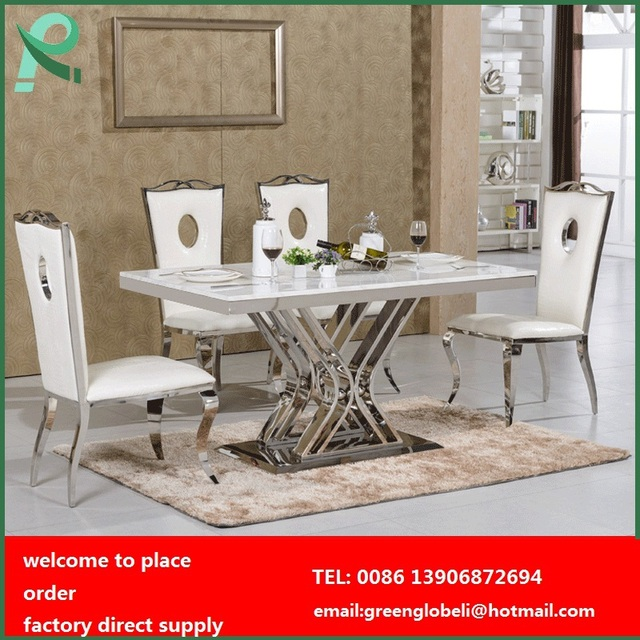 Stainless Steel Dining Table And Chairs Room Marble Top Set