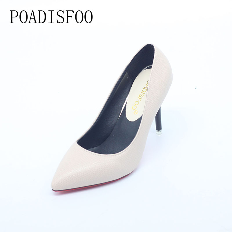 POADISFOO 2017 fashion new serpentine high heels 9cm heel shallow mouth work shoes DFGD H6