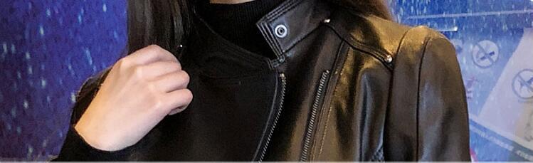Femmes Geniune Cuir Jaqueta Moto Mince Couro Yolanfairy Mouton Peau Printemps Vestes En Automne De Mf160 Noir IdxRq