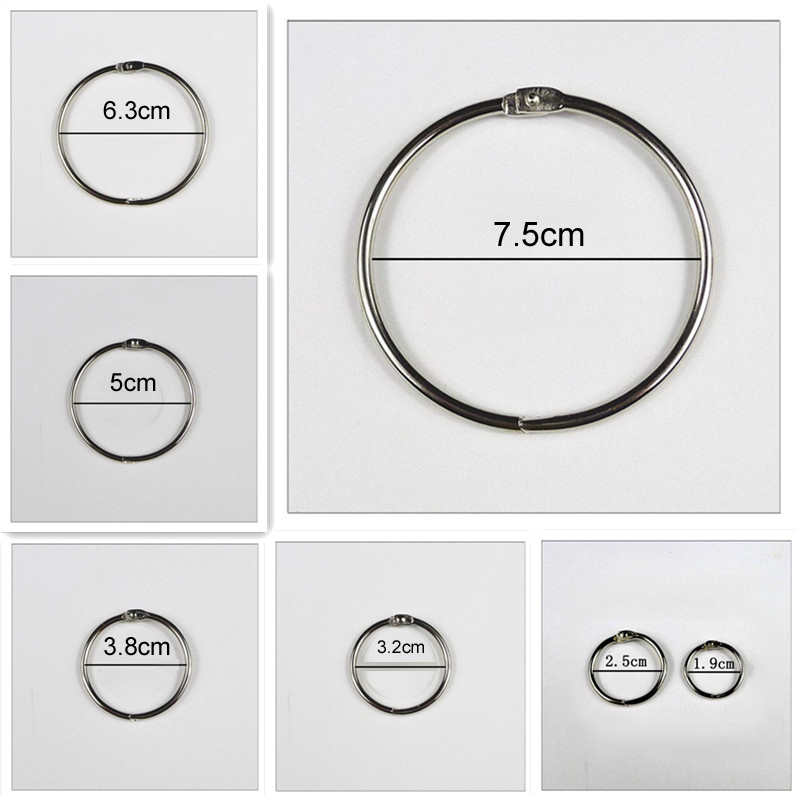 4Pcs/lot Metal Ring Binder 15 - 75mm DIY Albums Loose-leaf Book Hoops Opening Office Binding Supplies(China)