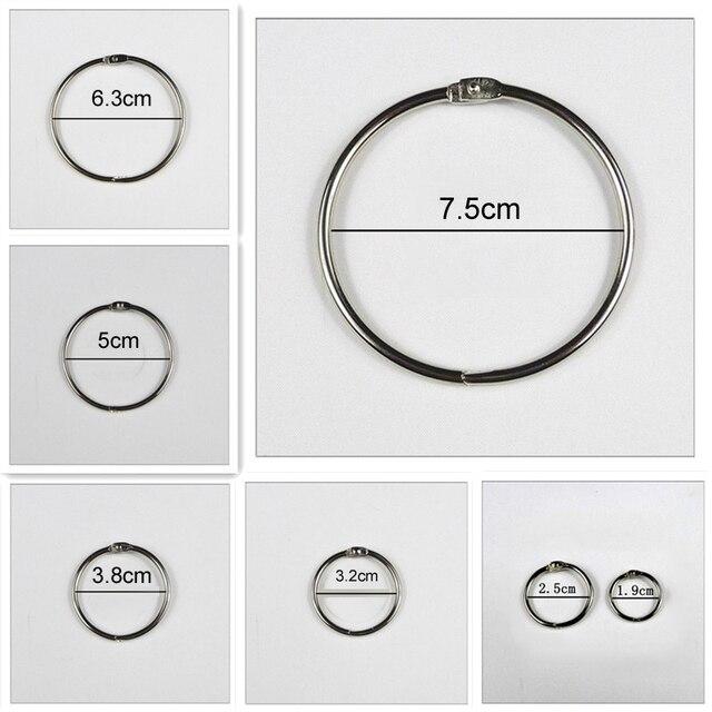 4 יח\חבילה מתכת טבעת קלסר 15   75mm DIY אלבומים Loose עלים ספר חישוקי פתיחת ספקי עקידת משרד