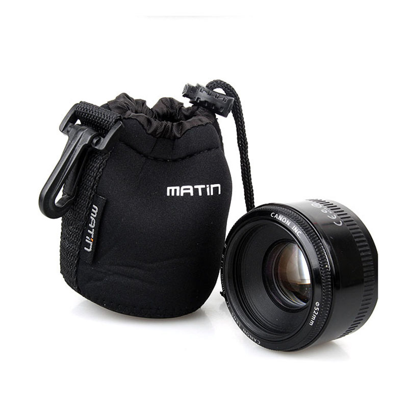 M size Camera Neoprene DSLR Lens Soft Pouch Protector Case Bag for Canon Nikon Sony Pentax Yonnguo 50mm 35mm camra lens