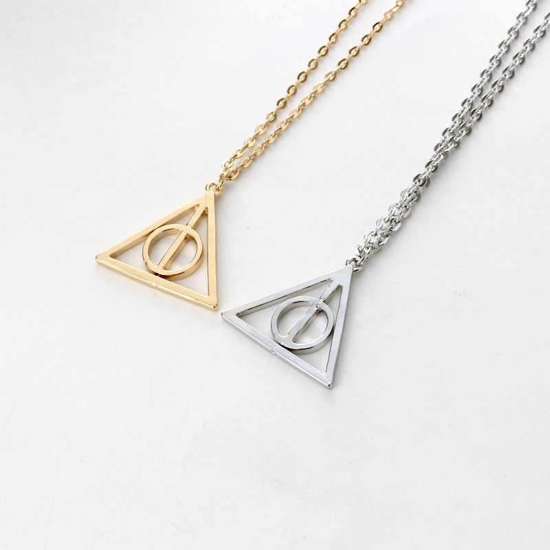 2017 gorąca sprzedaż Movie H-P insygnia śmierci Antique trójkątny wisiorek długi naszyjnik z łańcuszkiem prezent dla mężczyzn i kobiet 4ND226