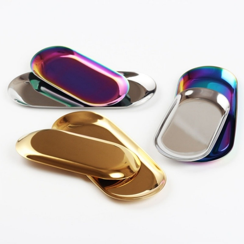 Image 4 - New 2019 Colorful Metal Storage Tray Gold Oval Dotted Fruit Plate Small Items Jewelry Display Tray Mirror-in Storage Trays from Home & Garden