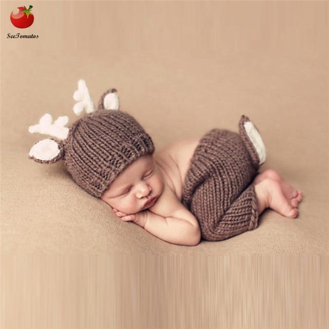 Us 664 27 Offneugeborenen Häkeln Baby Kostüm Fotografie Requisiten Deer Knitbaby Hut Bogen Infant Baby Foto Requisiten Neue Geboren Baby