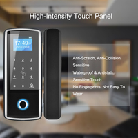 Biometric Fingerprint Lock Glass Door Lock Employee Touch Screen Password Swipe Card Keyless For Home Office Security Smart Lock