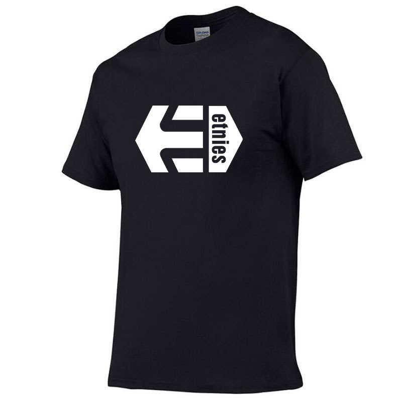 free delivery New Solid color Etnies   T     Shirt   Mens Black And White 100% cotton Tees Summer Skateboard Skateboard Boy   T  -  shirt   tops