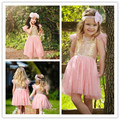2017 New Girls Casual Dress Summer 5 Colors Sequins Short-sleeved Children's Wear Princess Wedding Party Girl Dress Hot Sale 64